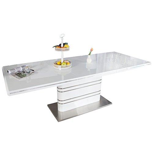 Ausziehbarer Design Esstisch ATLANTIS weiß Hochglanz 160-220cm Konferenztisch Tisch ausziehbar mit Butterfly Einlage