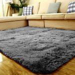 Teppich für Wohnzimmer Grau Modern Schlafzimmer Shaggy Kinderzimmer Teppiche (120x 80cm)