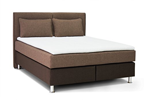 Collection AB Boxspringbett Boston 140 x 200 cm, Strukturstoff, braun / machiato