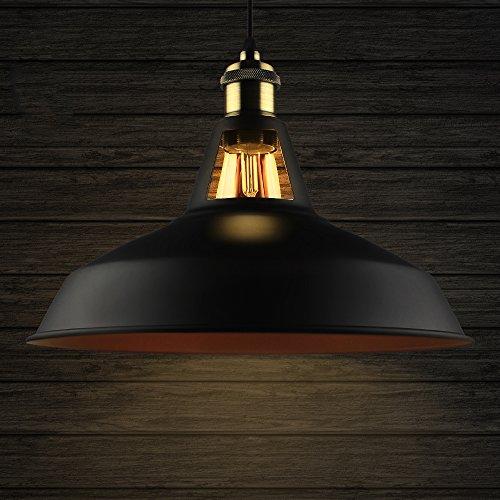 B2ocled Industrielle Vintage Retro Pendelleuchte Hängeleuchte mit schwarzer Metallschirm, für Wohnzimmer Esszimmer Restaurant Keller Untergeschoss usw. (Schwarz-dunkelrot,Durchmesser 27 cm)