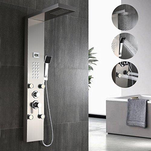BONADE Duschpaneel Luxus Duschamatur Gebürsteter Edelstahl Duschsäule mit Massagendüsen, Wasserfall Regendusche, Handbrause für Badezimmer