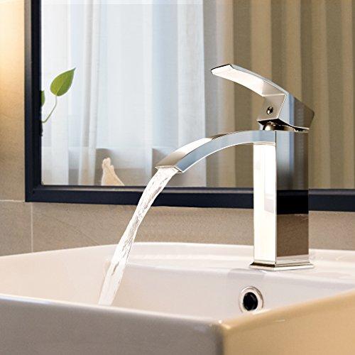 BONADE Wasserfall Wasserhahn Chrom Einhebel-Waschtischarmaturen Bad Armatur Badezimmer Waschbecken Mischbatterie