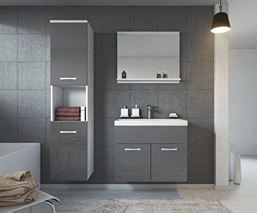 Badezimmer Badmöbel Set Montreal 60 cm Waschbecken Hochglanz Grau Fronten - Unterschrank Hochschrank Waschtisch Möbel