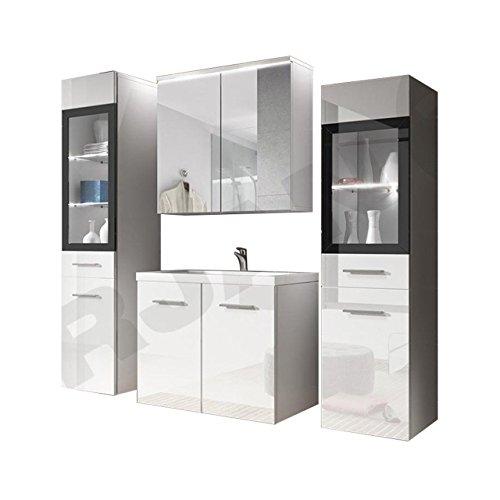 Badmöbel Set Udine II mit Waschbecken und Siphon, Modernes Badezimmer, Komplett, Spiegelschrank, Waschtisch, Hochschrank, Möbel (mit Weißer LED Beleuchtung, Weiß/Weiß Hochglanz)