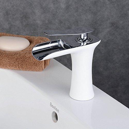 Beelee BL9009W Messing Weiß&Chrom Badarmatur Wasserfall Waschtischmischer Wasserhahn Waschbecken Armatur Einhebelmischer