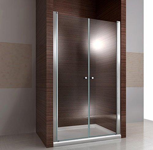 Duschkabine Duschabtrennung Nischentür Nano Echtglas EX218-195 cm Höhe - Breite wählbar, Breite:88cm