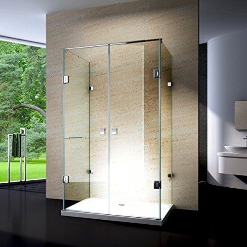Bernstein Badshop Duschkabine U-Form 8mm ESG Rahmenlose Glas-Dusche EX412 Klarglas- Duschwand 120x80x195cm