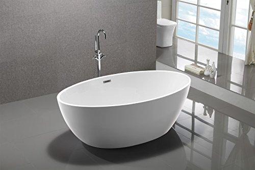 Bernstein Badshop Freistehende Badewanne DESTINO Acryl weiß - 175x100cm - Armatur optional, Standarmatur:Ohne Standarmatur, Siphon:Inkl. Siphon