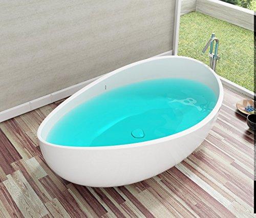 Bernstein Badshop Freistehende Badewanne aus Mineralguss WAVE STONE weiß - 180 x 110 cm - Wählbar in Matt oder Hochglanz, Ausführung:Matt