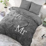 Bettwäsche Sleeptime Baumwolle Mr. And Mrs. 3, 200cm x 200cm, Mit 2 Kissenbezüge 80cm x 80cm, Grau