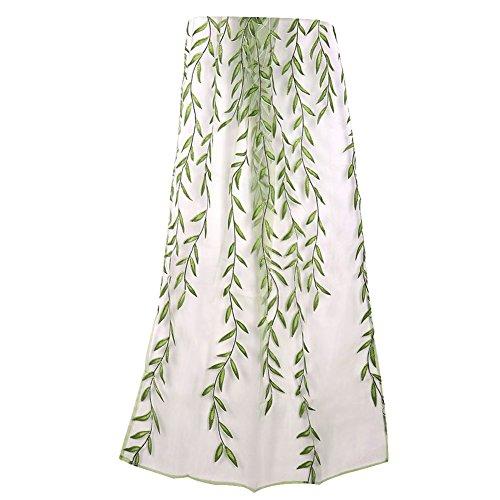 Brie Fuchi Vorhang Transparent, Kräuselband Mädchen Vintage Gardine Schlaufen Schmetterlinge/Blätter aus Stickerei…