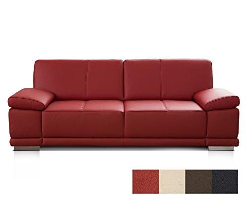 CAVADORE 2,5-Sitzer Ledersofa Corianne/Kleines Polstersofa in hochwertigem Echtleder und modernem Design/Mit Armteilverstellung/Größe: 192 x 80 x 99 (BxHxT)/Bezug: Echtleder rot (feuerrot)