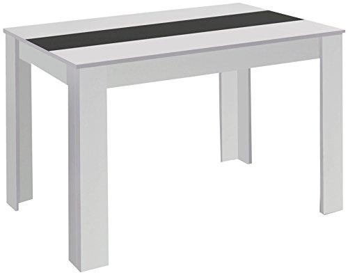 CAVADORE 80348 Esstisch Nico/Moderner, praktischer Küchentisch 140 x 80 cm in Melamin Weiß mit Mittelplatte in Weiß Oder Schwarz/Esszimmertisch in Weiß/140 x 80 x 75 cm (L x B x H)