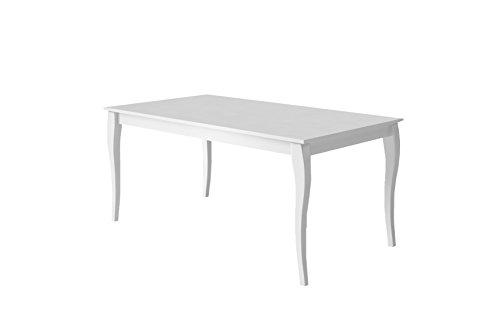 CAVADORE 90194 Esszimmertisch Matilda/Großer Küchentisch in Klassischem Design/Elegant geschwungene Tischbeine/Hochglanz Weiß lackiert/160 x 90 x 75cm (LxBxH)