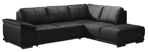 Cavadore Ecksofa Calypse mit Ottomane rechts / Schwarzes Sofa im modernen Design / 273 x 83 x 214 (BxHxT) / Lederoptik schwarz