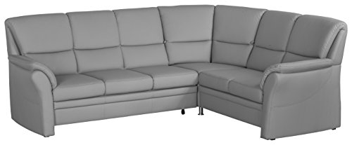 CAVADORE Ecksofa Klariza mit Ottomane Rechts/Großes L-Form Sofa in Lederoptik und Modernem Design/264 x 102 x 214/Federkern/Kunstleder Hellgrau