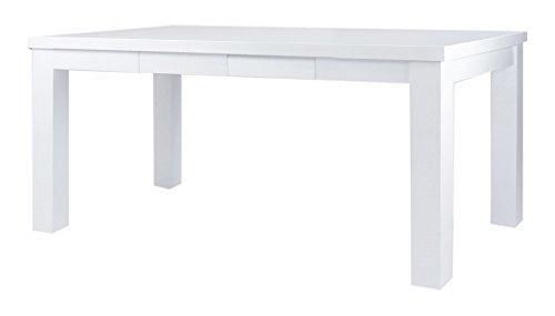 CAVADORE Esstisch ALABAMA / Moderner Küchentisch mit 4 Schubladen / Küchentisch im Landhaus-Stil Hochglanz Weiß…
