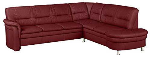 Cavadore Echtleder Sofa Cassada mit Federkern / Großes Ecksofa in Leder rot mit Spitzecke / Chromfarbene Füße / Größe: 265 x 90 x 240 cm (BxHxT) / Bezug in 100 % Echtleder / Farbe: Feuerrot (rot)