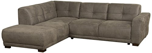 """Cavadore Ecksofa """"Modeo"""" / Sofa-Ecke mit Federkern und modernen Kontrastnähten / Hochwertiger Mikrofaser-Bezug in Wildlederoptik / Holzfüße / Maße: 261x77x214 cm (BxHxT) / Farbe: Savannah (hellbraun)"""