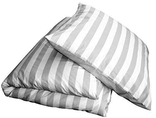 Chateau Marques 2tlg Sommer Bettwäsche Streifen Grau-Weiß 135x200 & 80x80 Wende-Bettwäsche OekoTex 100% Baumwolle Edles Streifen-Design Reißverschluss