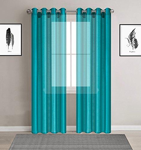 DEZENE 2er Set Faux Seide Halb-transparent Gardine mit Ösen Einfarbige Voile Tüll Durchsichtig Vorhänge Schals,Türkis,140 x 230 CM