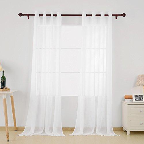 Deconovo 2er Set Vorhang Transparent Gardinen Wohnzimmer Voile Vorhang  Ösenvorhang 245×140 cm Weiß...
