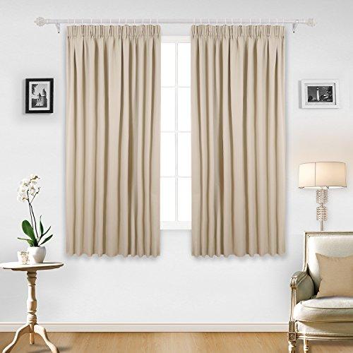 Deconovo Gardinen Verdunkelungsvorhang Kräuselband Wohnzimmer Vorhang, 175x140cm(HöhexBreite), Beige, 2er Set