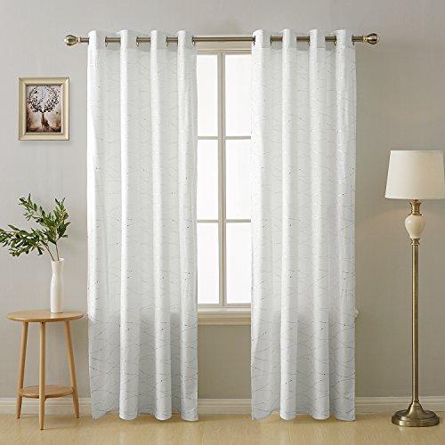 Deconovo Vorhänge Halbtransparent Ösenvorhang Gardinen Wohnzimmer 175×140  cm Weiß 2er Set
