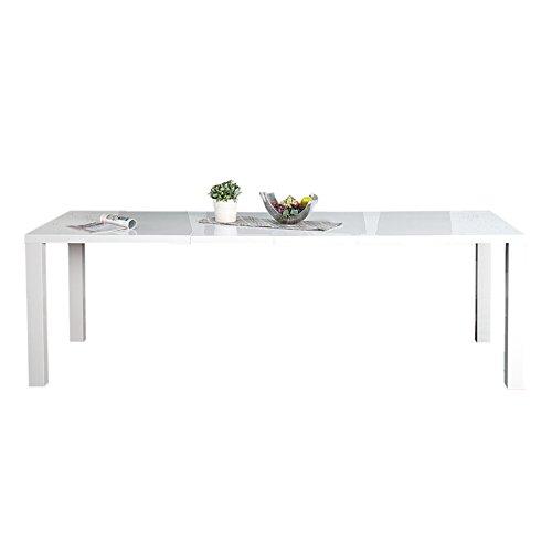 Invicta Interior Design Esstisch Lucente weiß Hochglanz 160-240 cm ausziehbar Tisch Holztisch Konferenztisch Küchentisch