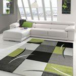 Designer Teppich Moderner Teppich Wohnzimmer Teppich Kurzflor Teppich mit Konturenschnitt Karo Muster Grün Grau Weiß Schwarz Größe 80x150 cm