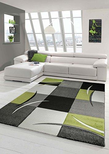 Designer Teppich Moderner Teppich Wohnzimmer Teppich Kurzflor Teppich mit Konturenschnitt Karo Muster Grün Grau Creme…