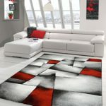 Designer Teppich Moderner Teppich Wohnzimmer Teppich Kurzflor Teppich mit Konturenschnitt Karo Muster Rot Grau Weiß…