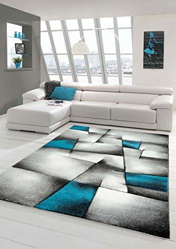Designer Teppich Moderner Teppich Wohnzimmer Teppich Kurzflor Teppich mit Konturenschnitt Karo Muster Türkis Grau Weiß Schwarz Größe 80x150 cm