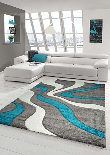 Designer Teppich Moderner Teppich Wohnzimmer Teppich Kurzflor Teppich mit Konturenschnitt Wellenmuster Türkis Grau Weiss Größe 120x170 cm