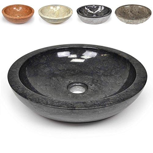 Divero Naturstein Aufsatz-Waschbecken Handwaschbecken Waschschale Marmor Stein poliert rund schwarz