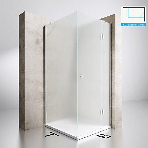 Duschabtrennung Milchglas 100x90, 8mm ESG-Sicherheitsglas, Duschwand aus Echtglas, Nanobeschichtung, Duschkabine Ravenna05S