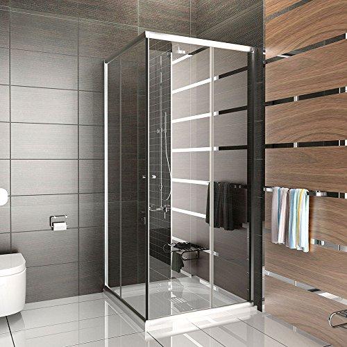 Duschabtrennung mit Rahmen Dusche Duschkabine 100x100x190 Alpenberger Echtglas Eckeinstieg Schiebetür Trennwand