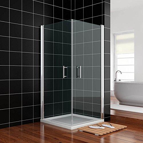 Duschkabine 90cmx90cmx185cm Nische Schwingtür Rahmenlos Duschabtrennung Echtglas links/rechts