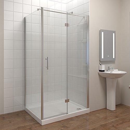 Duschkabine Eckeinstieg 90*90cm Duschabtrennung Echtglas Duschwand Duschtür mit Seitenwand Höhe 195cm