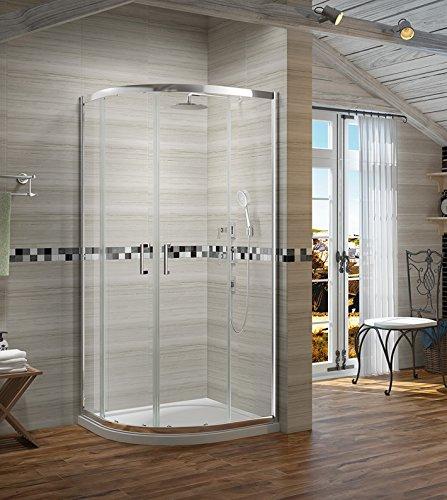 Duschwand viertelkreis 90x90 Duschtür eckig Echtglasdusche Duschabtrennung Schiebetür Duschkabine Echtglas Höhe 190cm klar