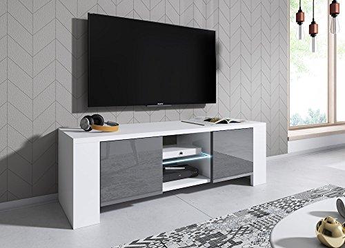 E-Com TV Board Lowboard LUX, Korpus in Weiß matt/Front in Grau Hochglanz - 130 cm - MIT LED