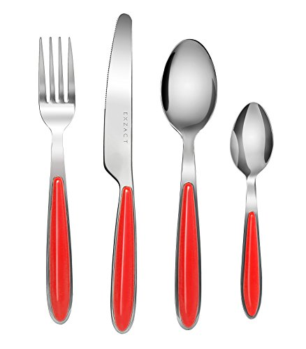 EXZACT EX07-16 teiliges Besteckset/Edelstahl-Besteck - Rostfreier Stahl mit farbigen Griffen - 4 Gabeln, 4 Messer, 4 Esslöffel, 4 Teelöffel (Rot x 16)