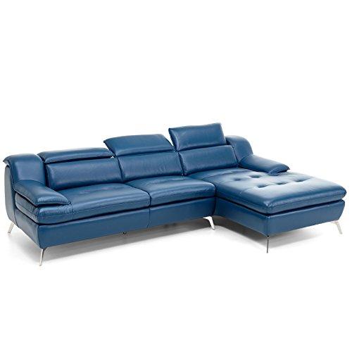 Ecksofa petrol Leder Jersey Couch Vollleder Polsterecke Ottomane verstellbare Kopfstützen