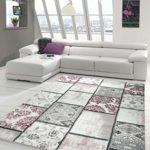 Edler Designer Teppich Moderner Teppich Wohnzimmer Teppich Patchwork Vintage Meliert Karo Muster in Lila Creme Grau Rosa Schwarz Größe 160x230 cm