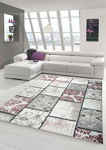 Edler Designer Teppich Moderner Teppich Wohnzimmer Teppich Patchwork Vintage Meliert Karo Muster in Lila Creme Grau Rosa…