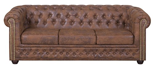Edles Chesterfield Sofa 3 Sitzer in Mikrofaser Vintage braun Couch Polstersofa