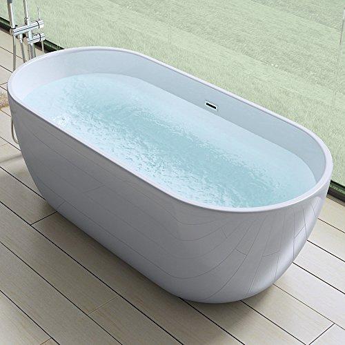 Elegante Design Badewanne Vicenza518, freistehend in weiß