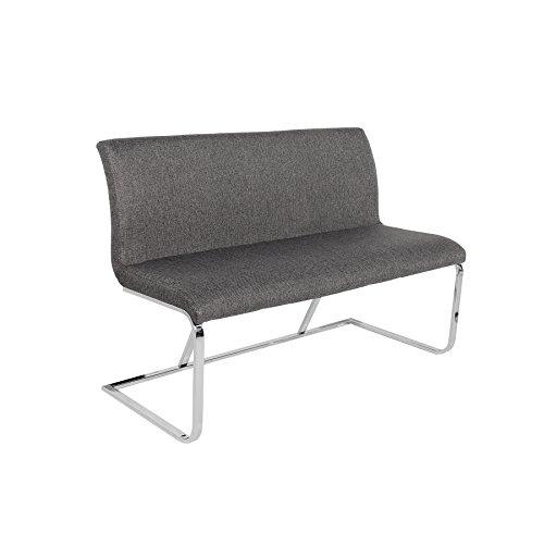Riess Ambiente Elegante Design Sitzbank Hampton grau 130cm mit Rückenlehne Strukturstoff