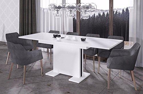 Endo Esstisch Linea 210 ausziehbar erweiterbar Küchentisch Esszimmertisch Säulentisch // Weiß Hochglanz