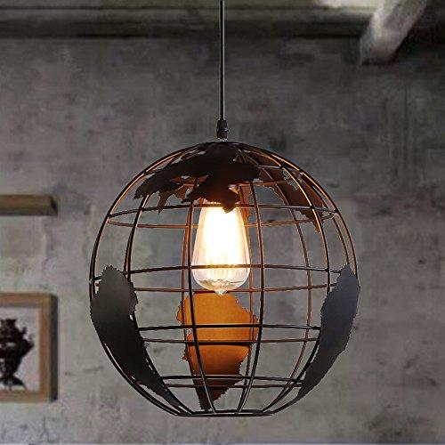 Esoes Retro Pendelleuchte - Runde Form Design Vintage Pendelleuchte Deckenleuchte Metall Lampenschirm für E27 Schwarz (Glühbirne ausgeschlossen)